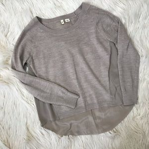 Anthropologie Moth High Low sweater with silk back